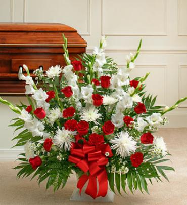Tribute Red & White Floor Basket Arrangement