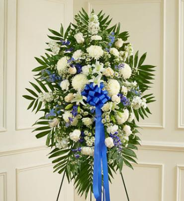 Deepest Sympathies Blue & White Standing Spray